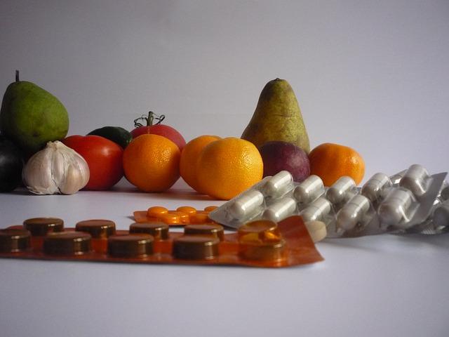 ovoce, prášky